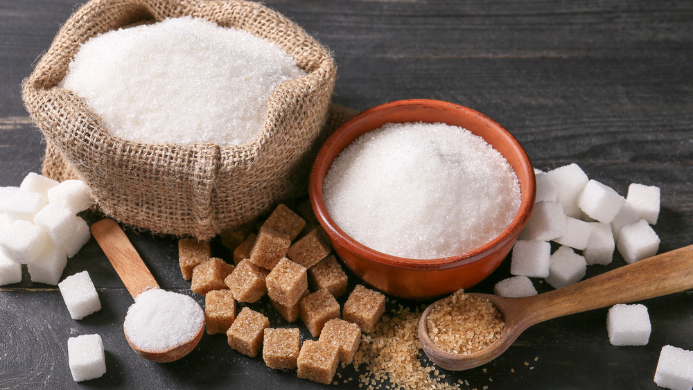 Sugar in a bowl, bag, and cubes