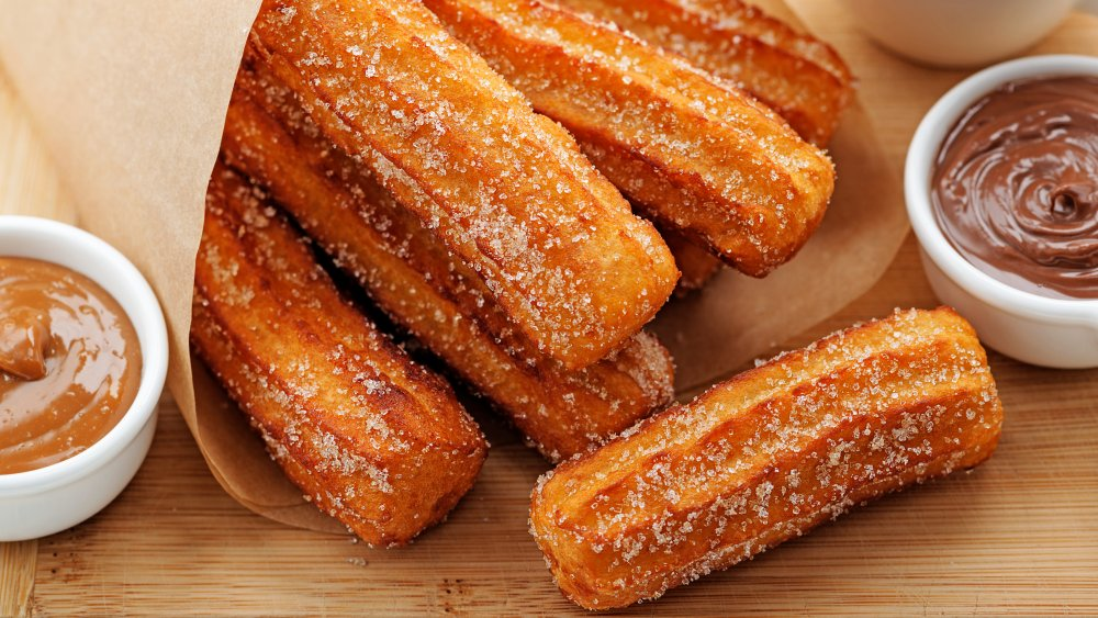Bite sized churro with dipping sauce