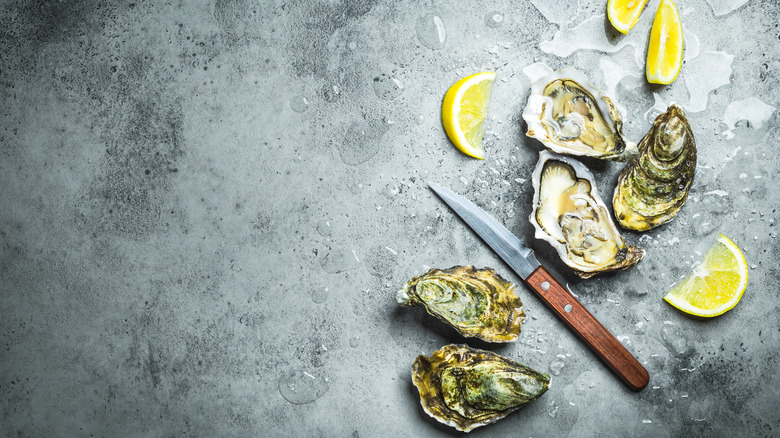 oysters on ice next to lemon wedges and an oyster knife