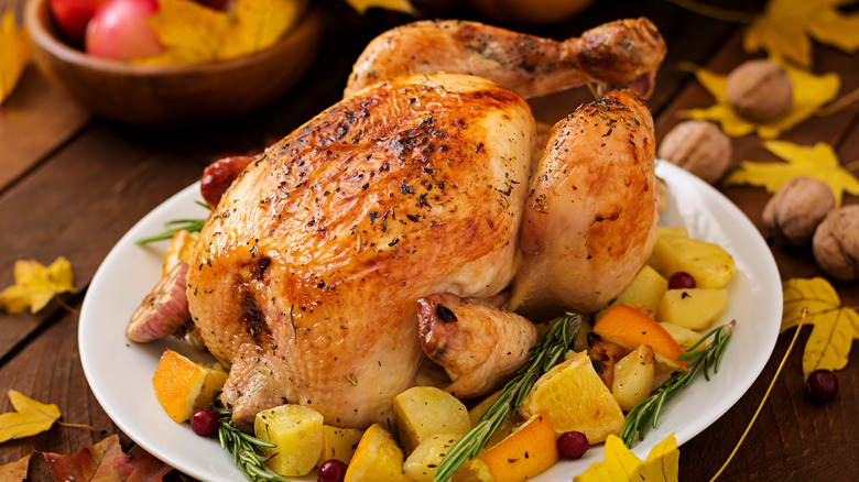 Turkey on platter with vegetables