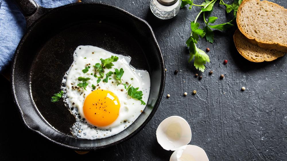 Cast iron skillet fries egg