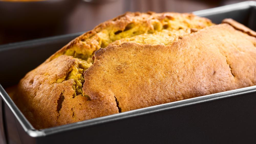 Pumpkin bread in pan