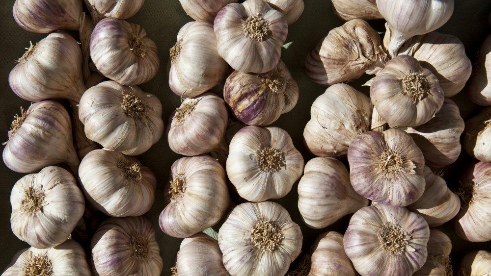 Garlic on a wooden board