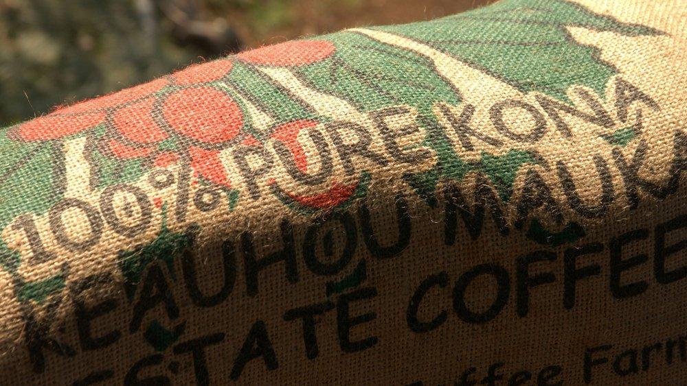 100% Pure Kona coffee bag label