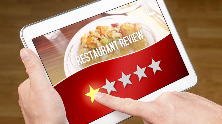 Bad online restaurant review