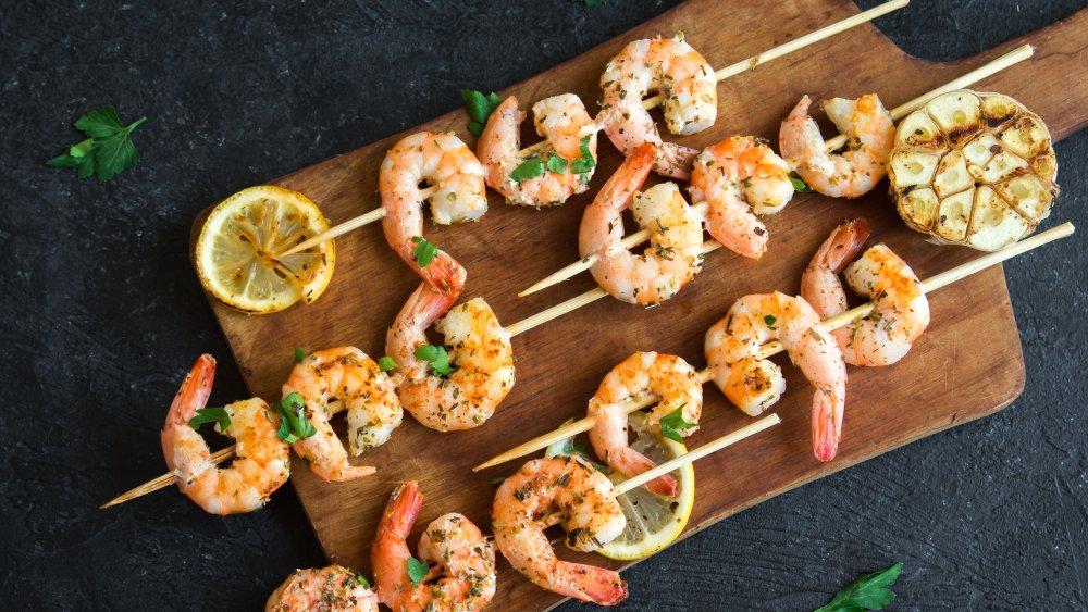 grilled skewers of shrimp