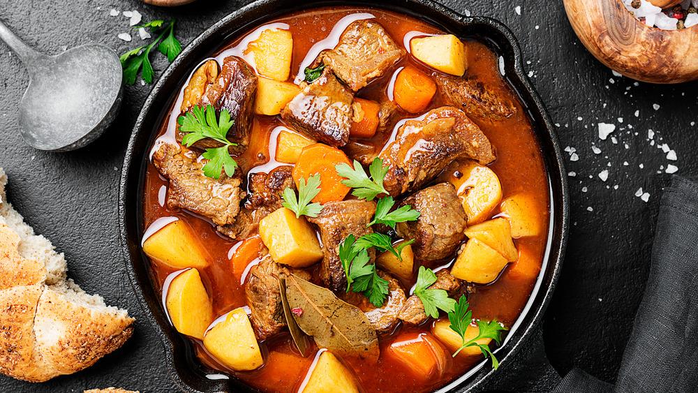 Goulash in cast iron pan
