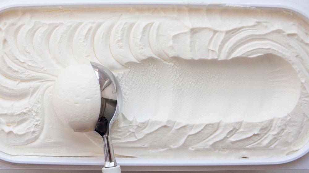 Vanilla ice cream being scooped