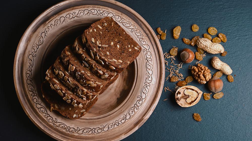 scalded flour baking dark grain bread whole grains seeds nuts