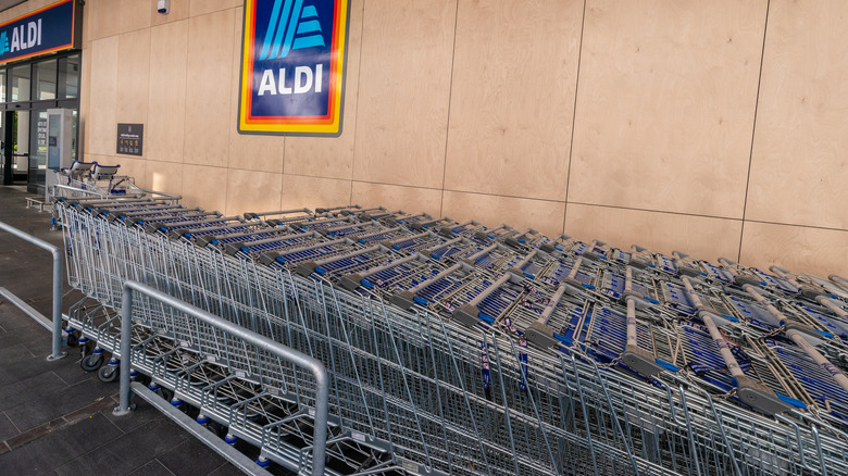 Row of shopping carts in front of Aldi