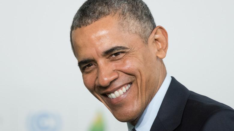 Closeup of Barack Obama in suit smiling
