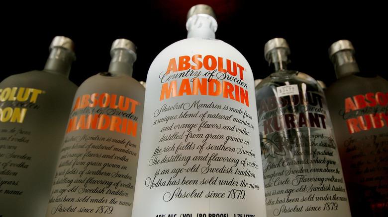 Flavored vodka bottles