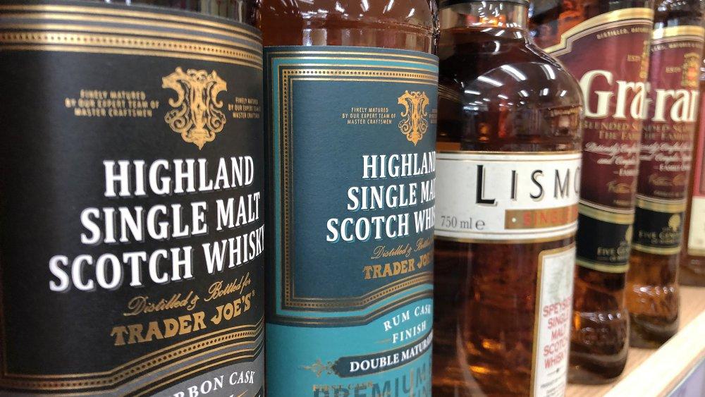 Bottles of whiskey on the shelf
