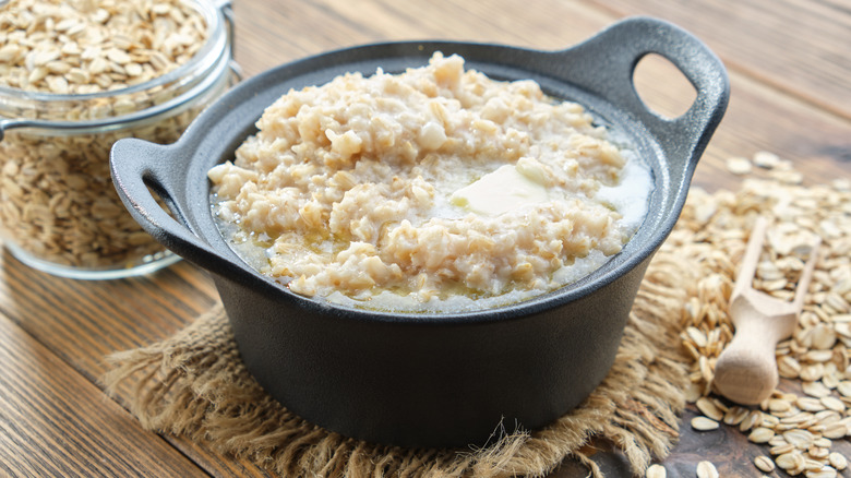 Bowl of oatmeal with oats