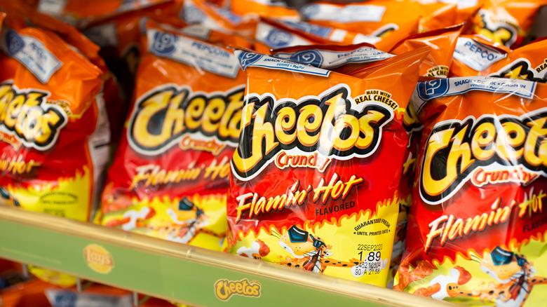 flamin hot cheetos grocery store shelf