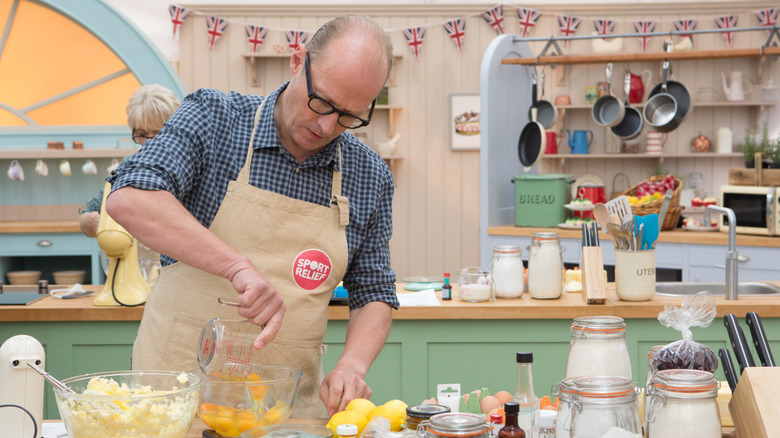 Contestant baking on The Great British Bake Off