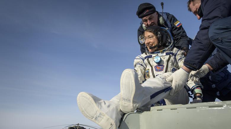 Christina Koch leaving a space capsule