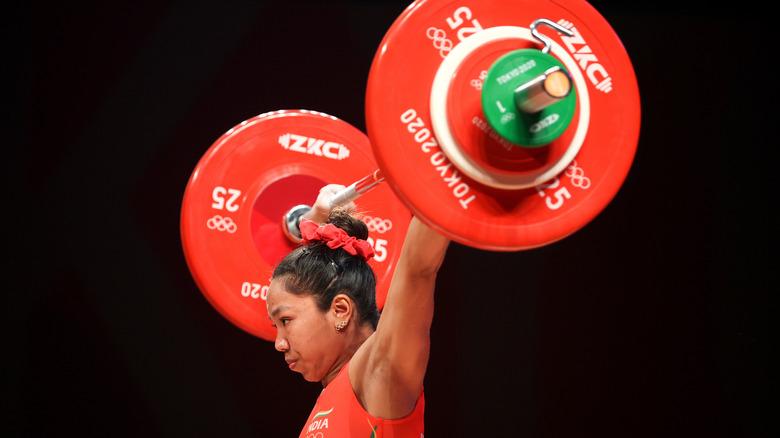 Mirabai Chanu weight-lifting in the Olympics