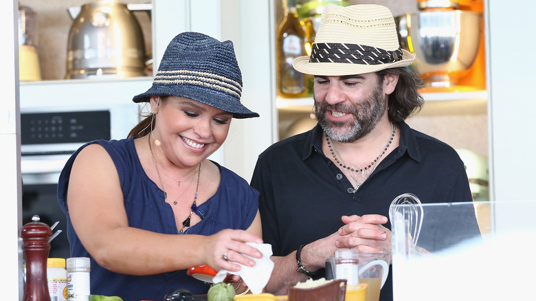 Rachael Ray and her husband in a candid shot