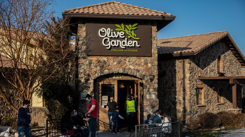 Outside an Olive Garden restaurant