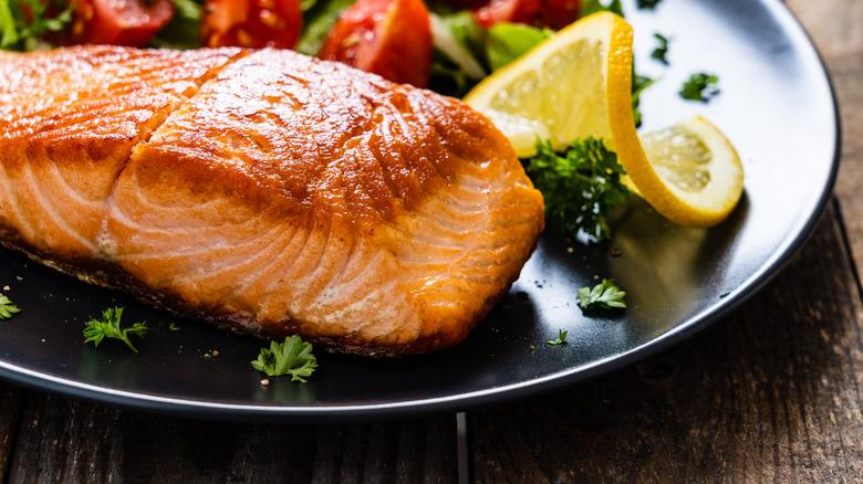 Seared salmon filet