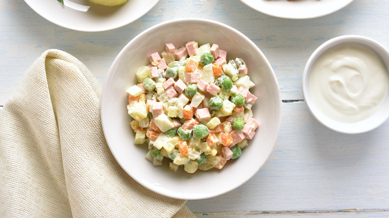 egg salad with ham cubes