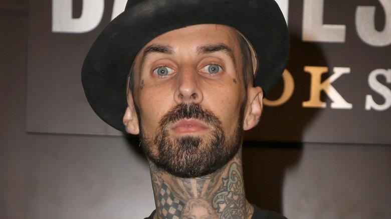 Travis Barker wears a hat