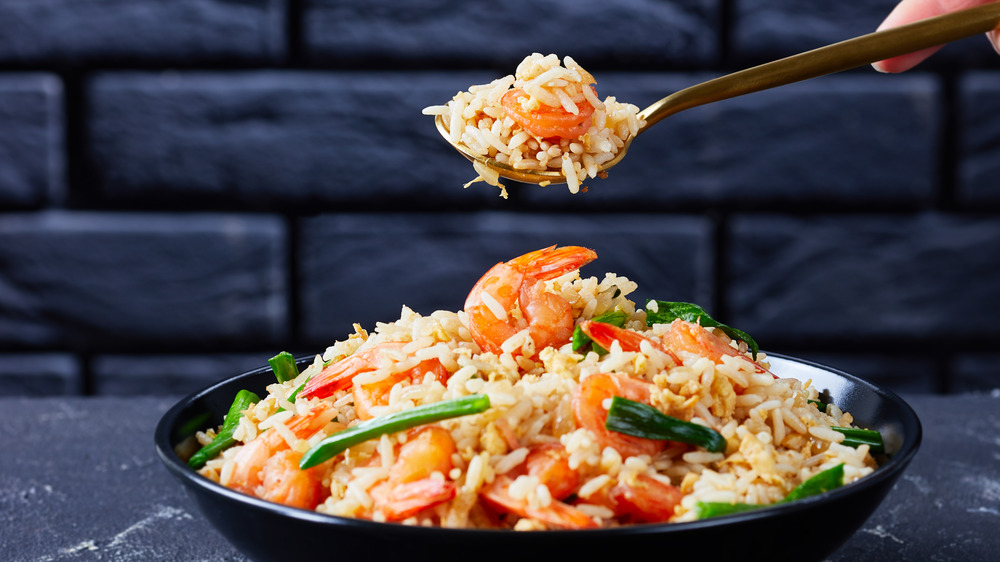 Shrimp fried rice in bowl