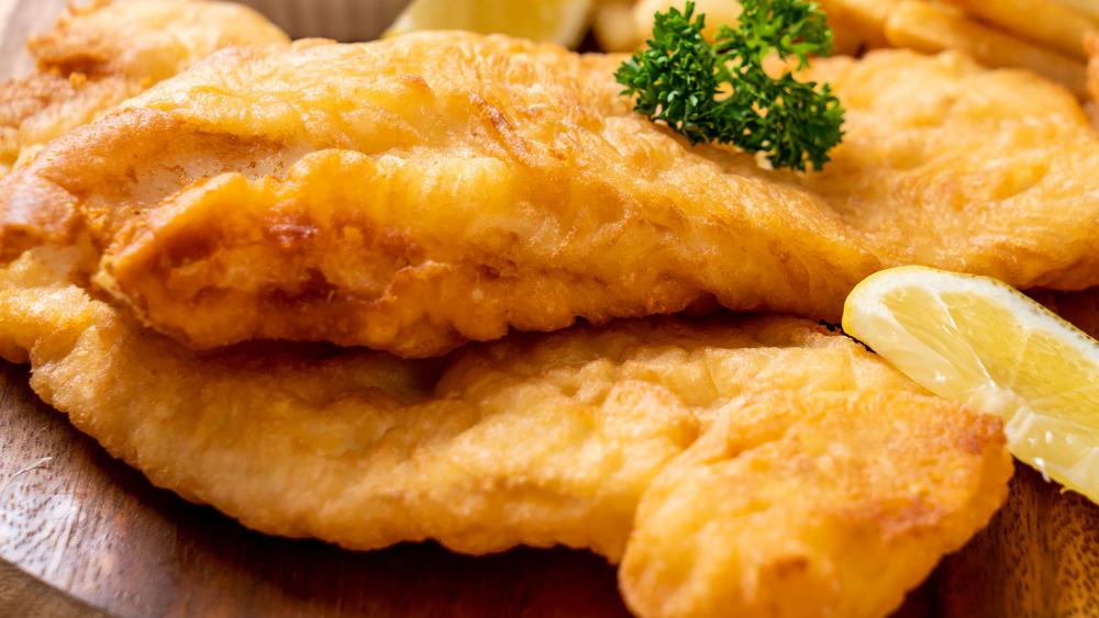 Fried fish with lemon slice