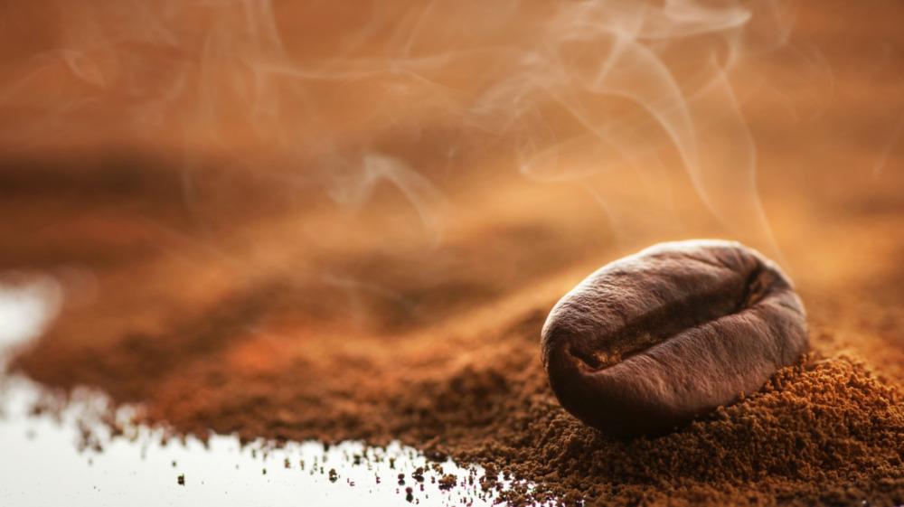 Coffee bean on ground coffee powder