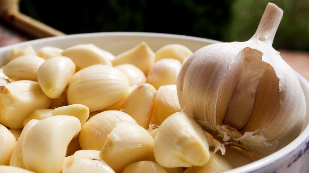 garlic cloves and a head of garlic