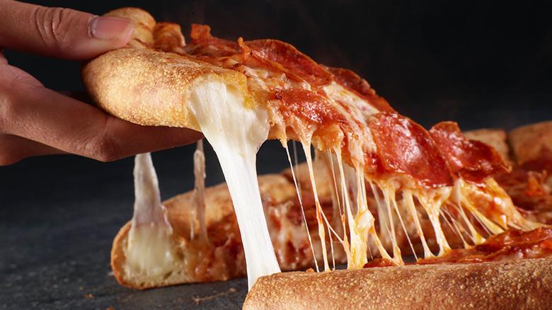 Papa John's stuffed crust pepperoni pizza