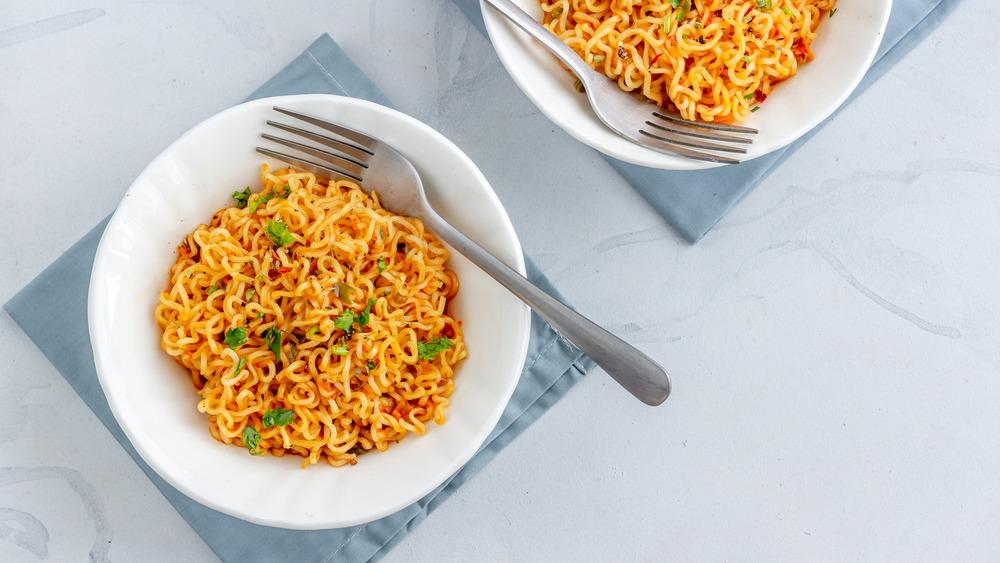 instant noodles ramen on plates