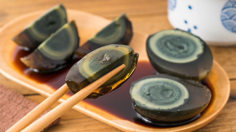 Century egg on a plate