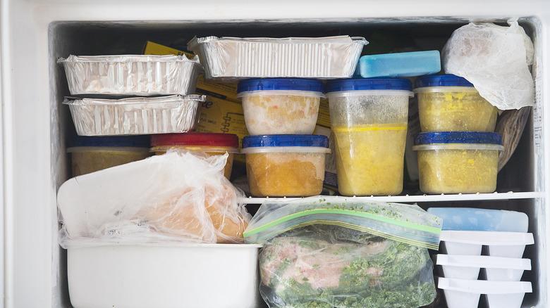 Freezer full of frozen food