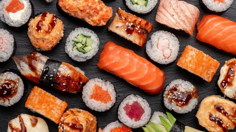 Assortment of sushi and nigiri
