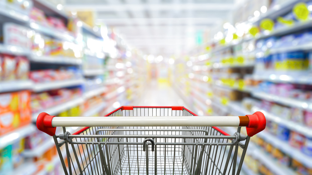 Grocery cart in aisle