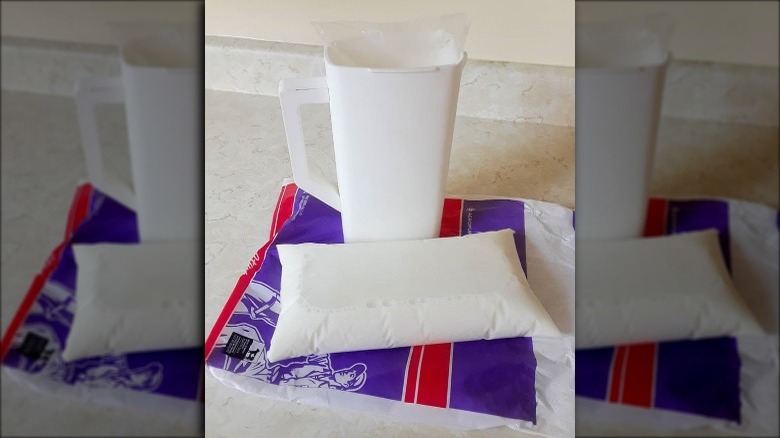 Canadian milk in a plastic bag