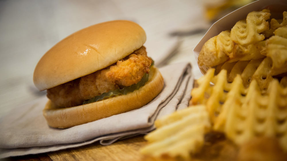Chick-fil-A sandwich and waffle fries