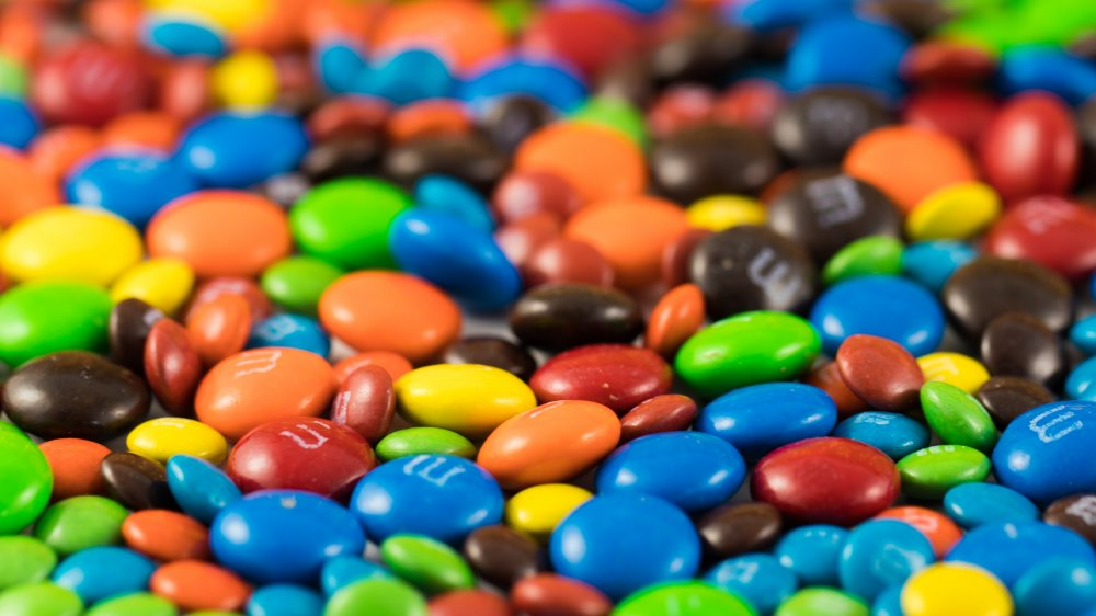 M&M's in the traditional colors and a variety of sizes