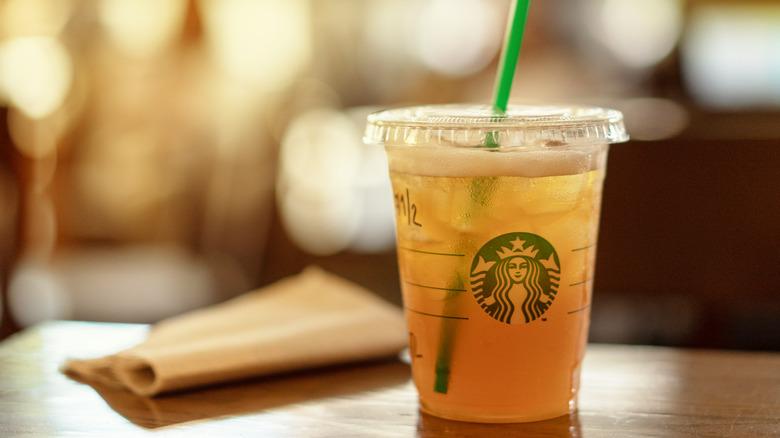 Starbucks iced tea on a table