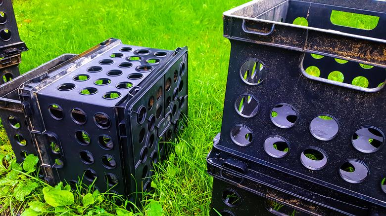 milk crates on grass