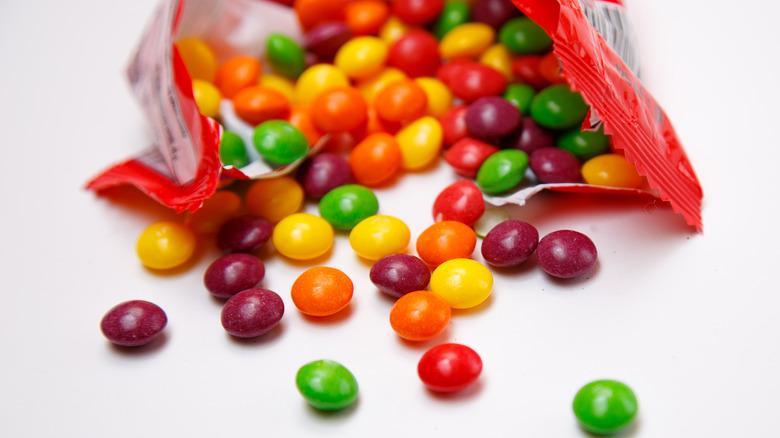 Open packet of Skittles