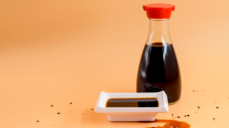 Small bottle of soy sauce