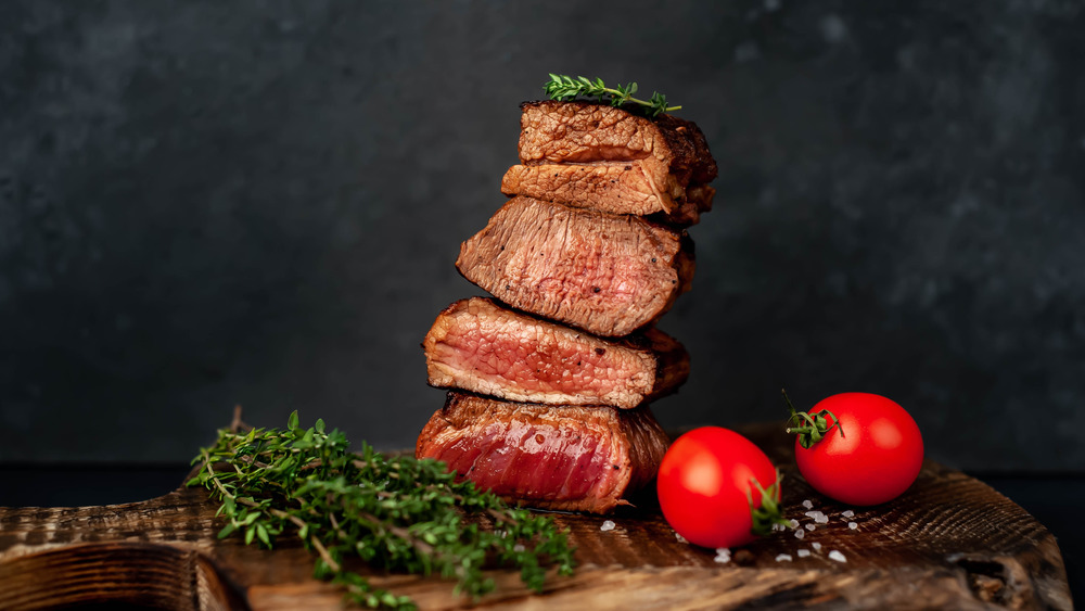 Display of steaks cooked to different degrees