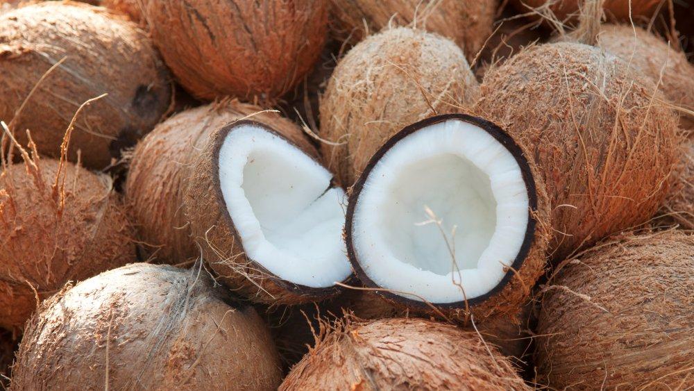 whole coconut cut in half