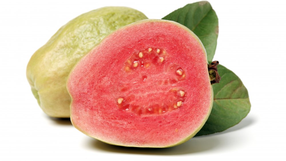 Guava fruit sliced in half