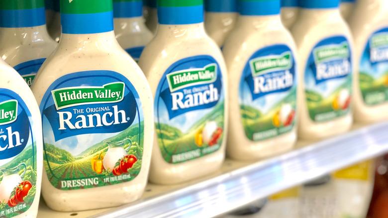 Bottles of Hidden Valley Ranch on store shelf