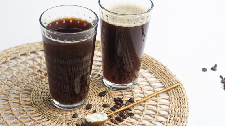 Two glasses of high protein coffee