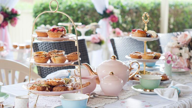 Afternoon tea setup for serving in garden